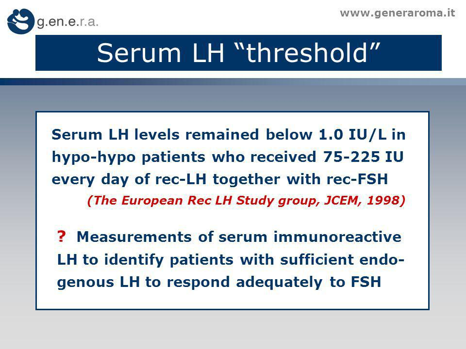 Serum LH threshold Measurements of serum immunoreactive