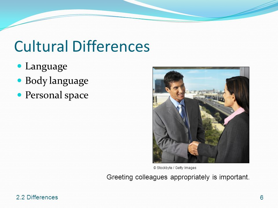 cultural differences in body language Body language is another key factor in cultural difference as different countries have different ways to convey or share their message, for instance in germany people tend to speak loudly when sharing ideas, whereas in japan people speak softly, it very important to know what your body language should be doing when interacting with people .