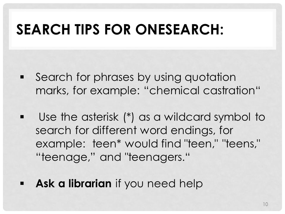 Search tips for OneSearch: