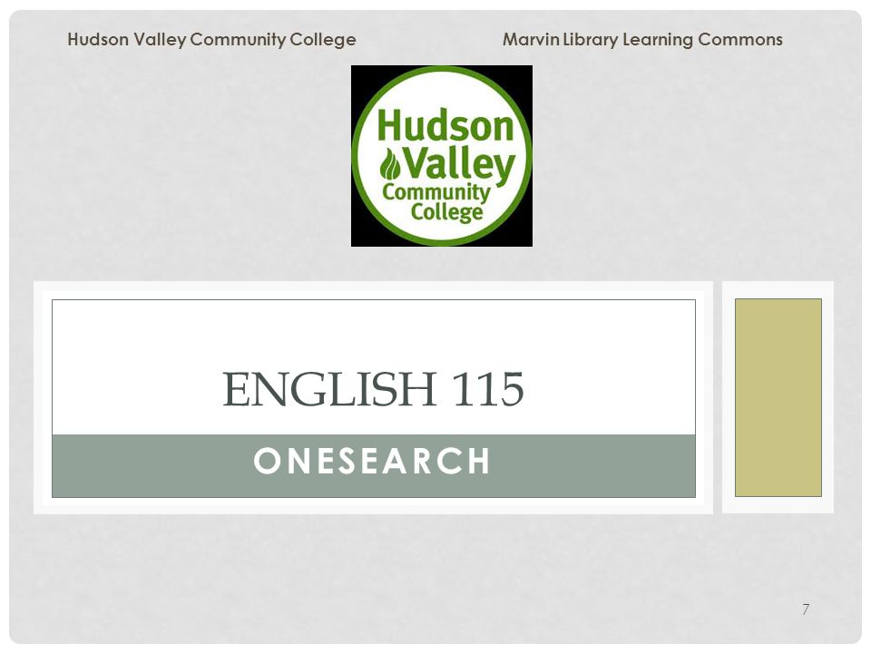 Hudson Valley Community College Marvin Library Onesearch