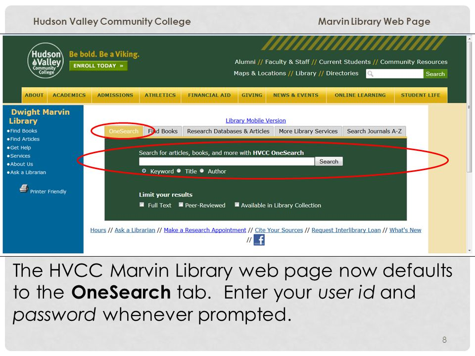 Hudson Valley Community College Marvin Library Web Page