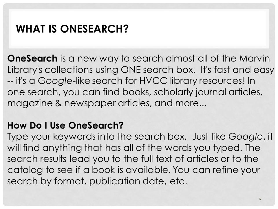 What is OneSearch