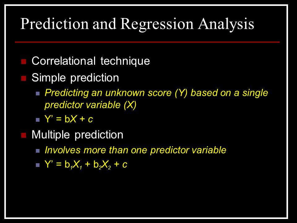 Prediction and Regression Analysis