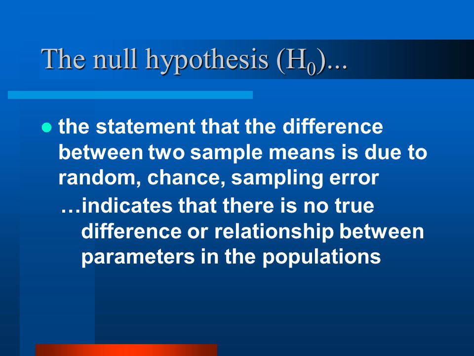 The null hypothesis (H0)...