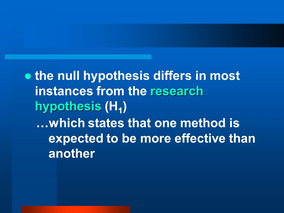 the null hypothesis differs in most instances from the research hypothesis (H1)