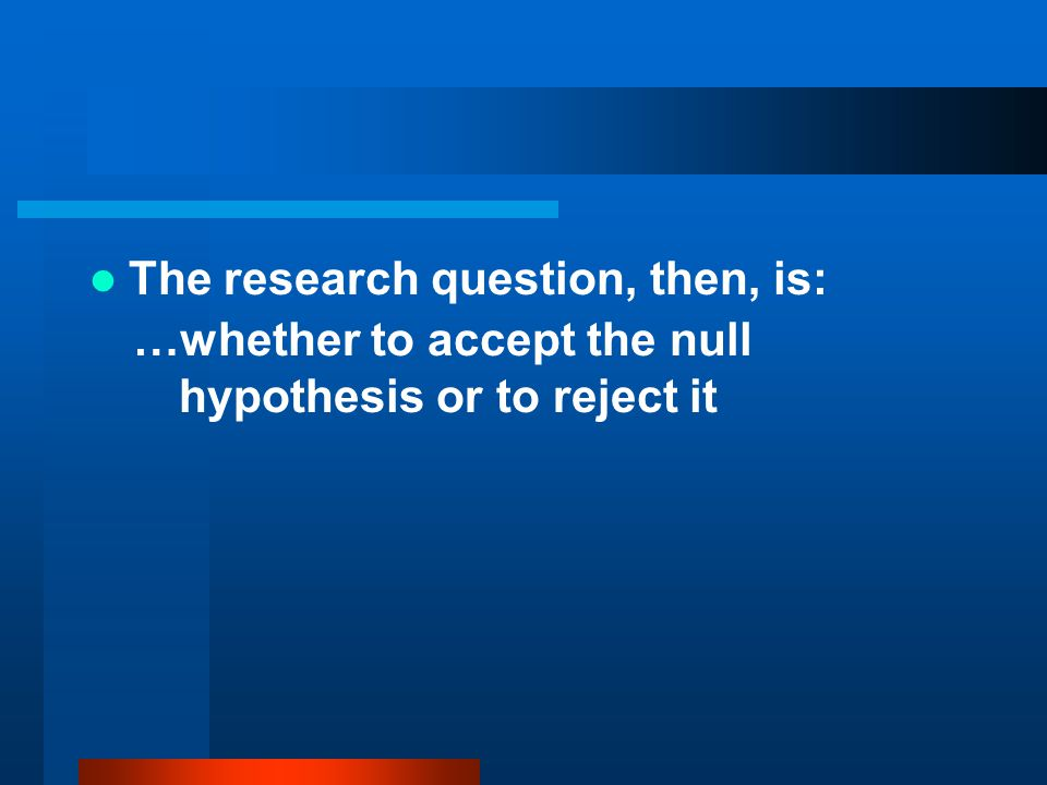 The research question, then, is: