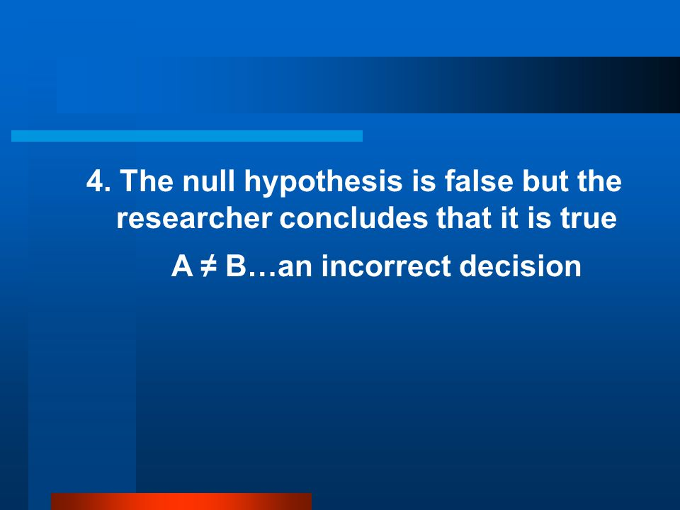 4. The null hypothesis is false but the researcher concludes that it is true