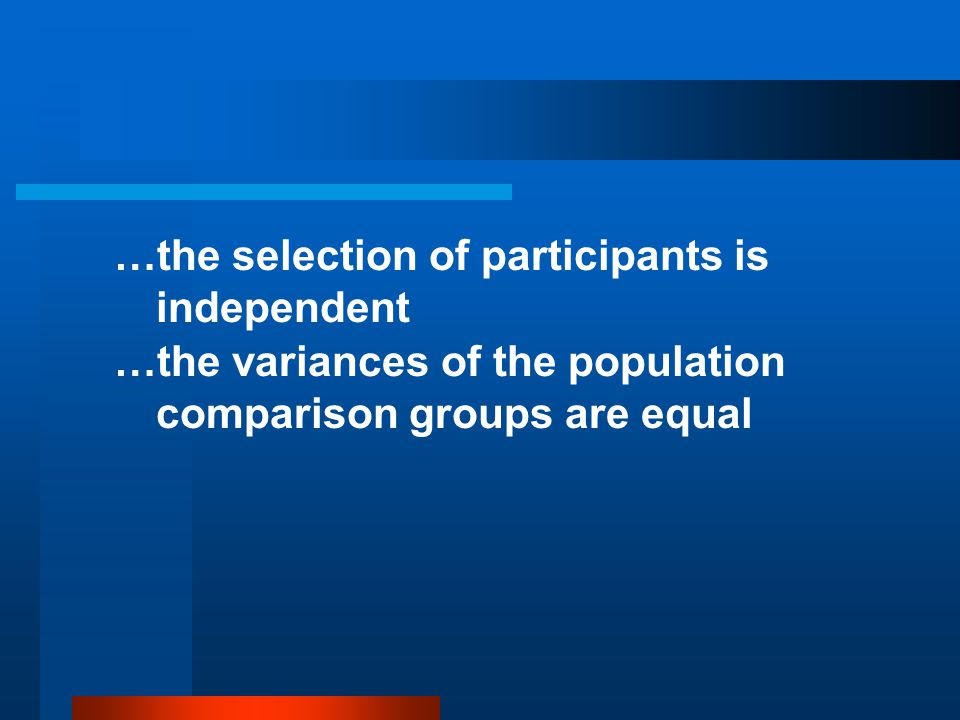 …the selection of participants is independent