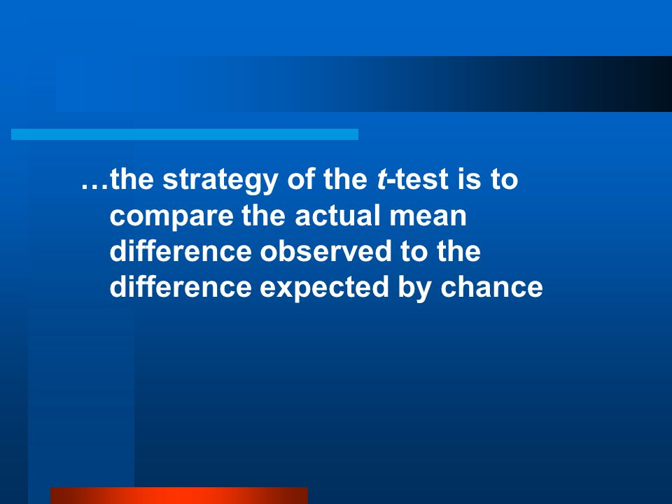 …the strategy of the t-test is to compare the actual mean difference observed to the difference expected by chance