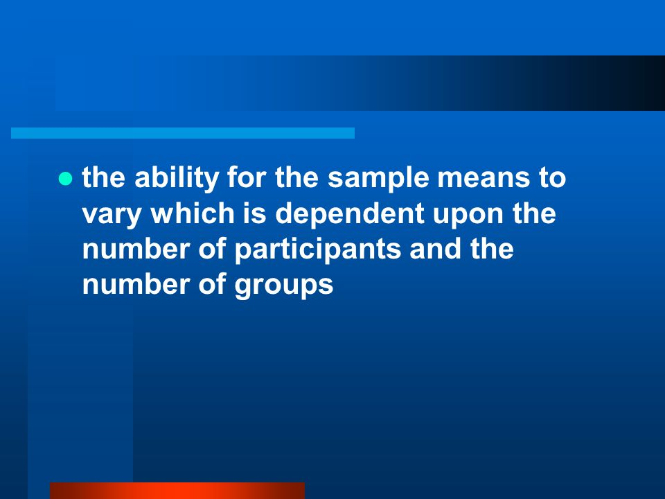 the ability for the sample means to vary which is dependent upon the number of participants and the number of groups