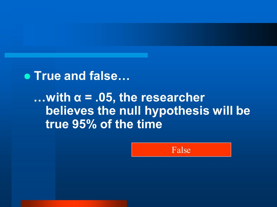 True and false… …with α = .05, the researcher believes the null hypothesis will be true 95% of the time.
