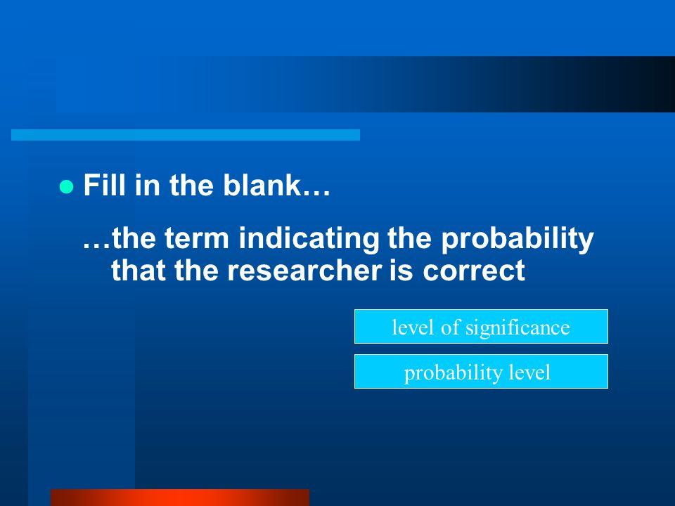 …the term indicating the probability that the researcher is correct