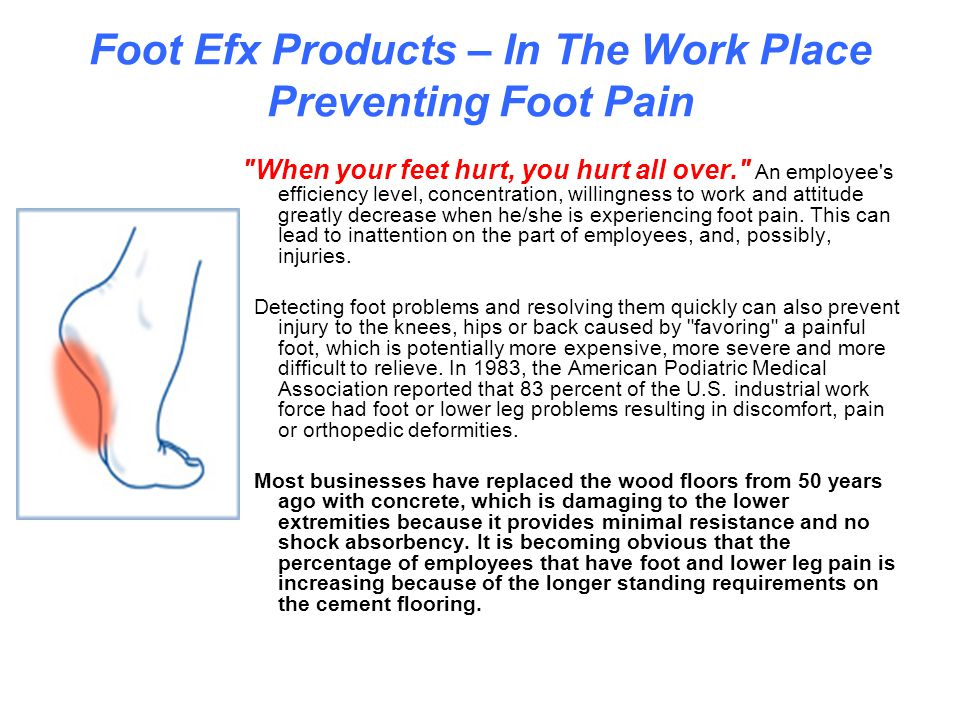 The foot efx family of products ppt download for Hardwood floors hurt feet