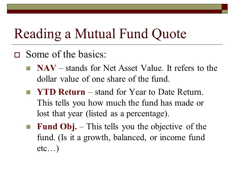 Reading a Mutual Fund Quote