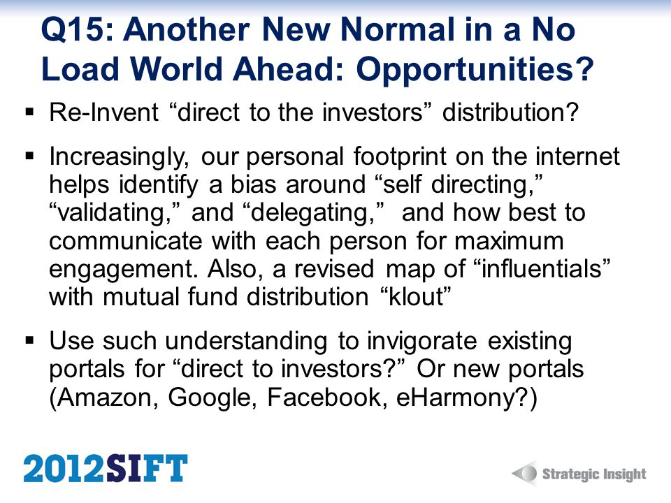 Q15: Another New Normal in a No Load World Ahead: Opportunities