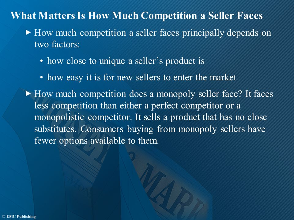 What Matters Is How Much Competition a Seller Faces