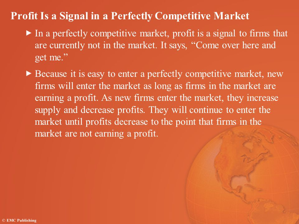 Profit Is a Signal in a Perfectly Competitive Market