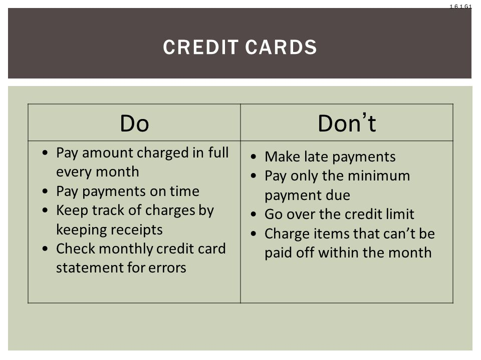 Do Don't Credit Cards Pay amount charged in full every month