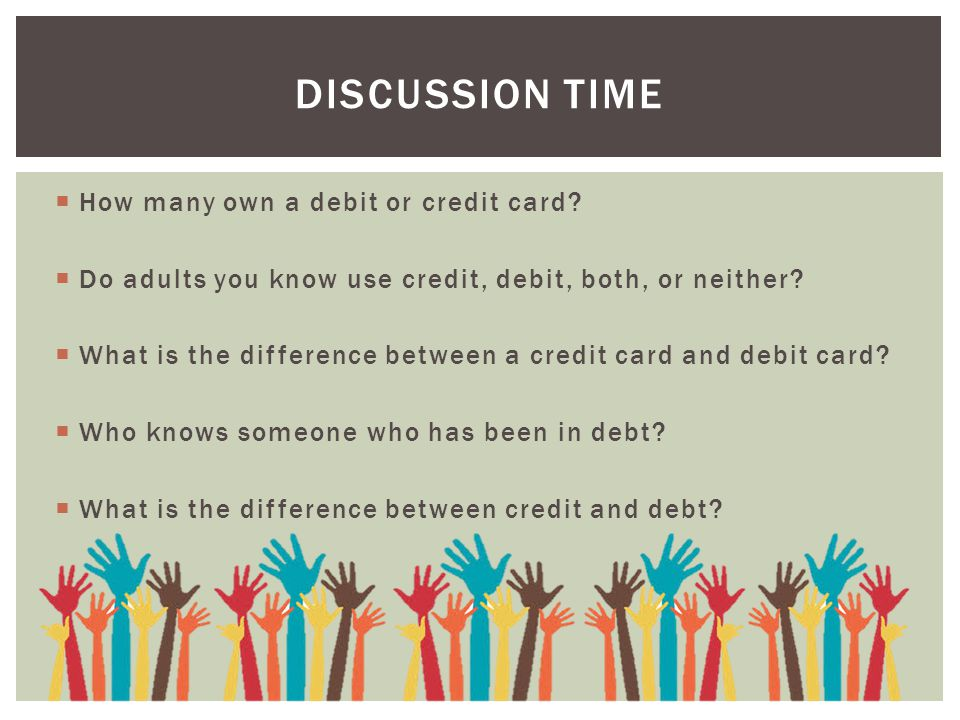 Discussion Time How many own a debit or credit card