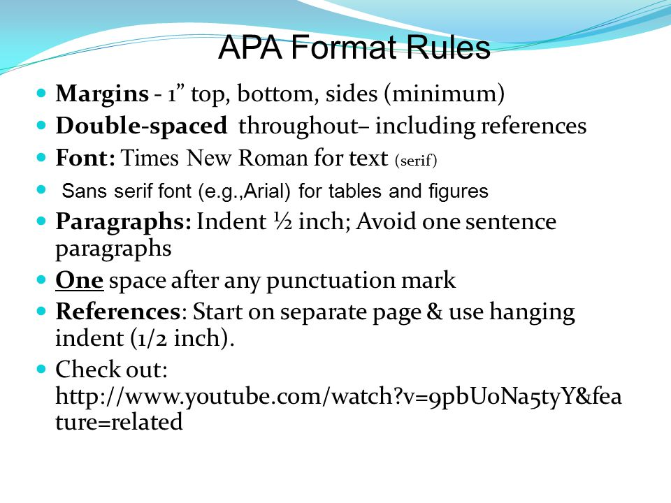 apa format margins Basic format rules for apa papers apa preferred typeface and font: times new roman, 12-point font one-inch margins indent first word of each paragraph 5 spaces (one-half inch) from left margin.
