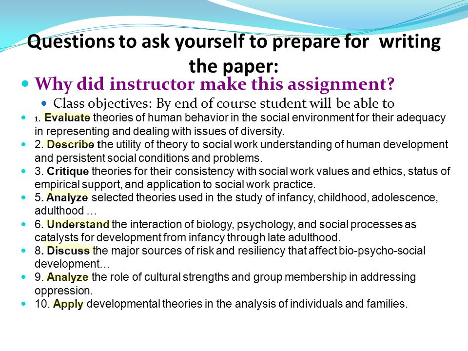 questions to ask yourself when writing a thesis Receive dissertation writing help, statistics consultation, thesis editing & proofreading choosing a dissertation research question dissertation proposal writing help to ensure that your dissertation research question is doable you may want to ask yourself several questions.