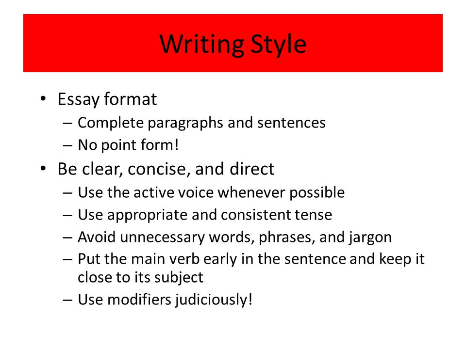 clear concise essay Writing essays is a fundamental part of academic learning at every level,  by  failing to structure their essays clearly and concisely to make the.