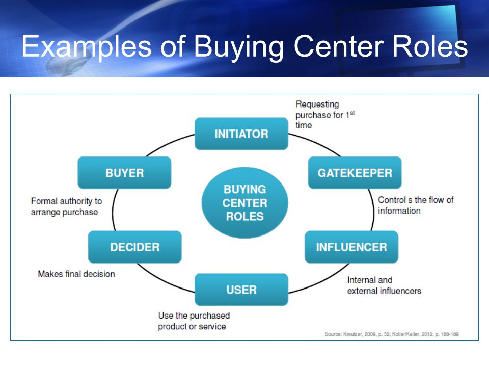 b2b buying center influences Industrial marketing  a buying center involves people from across the  hence the decisions taken by the buying center will bear these influences.