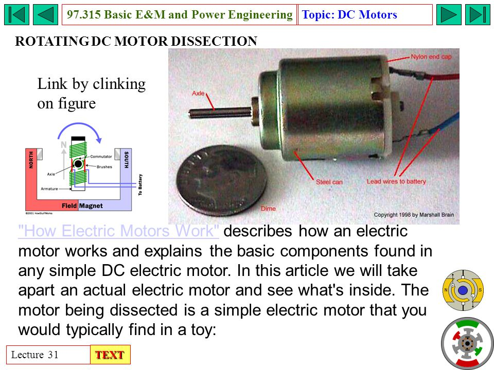 Rotating dc motor basic e m and power engineering ppt for We buy electric motors