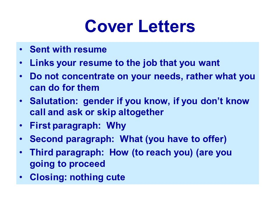 Cover Letters Sent with resume