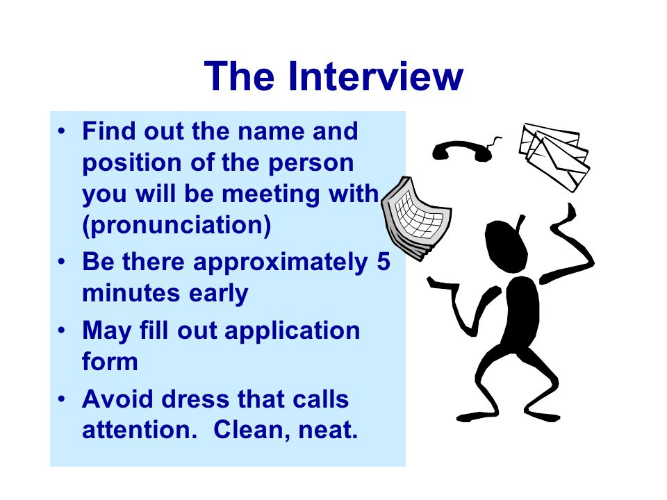 The Interview Find out the name and position of the person you will be meeting with (pronunciation)