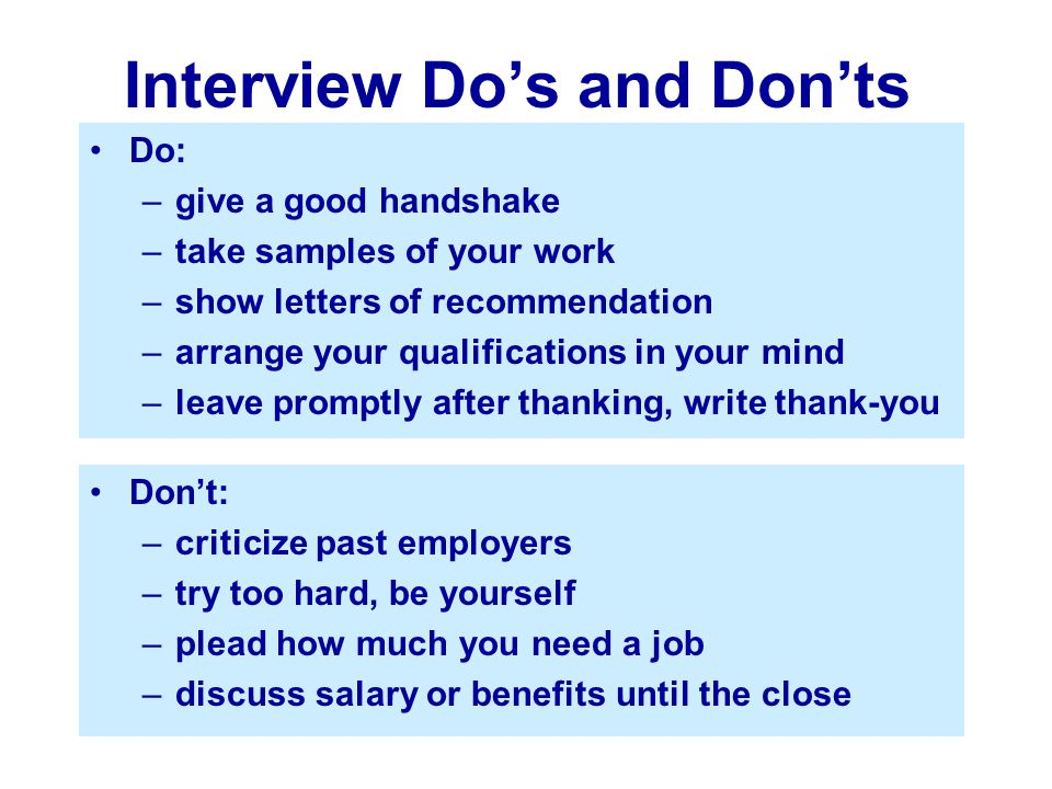 Interview Do's and Don'ts