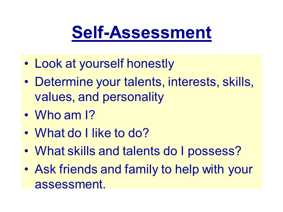 Self-Assessment Look at yourself honestly