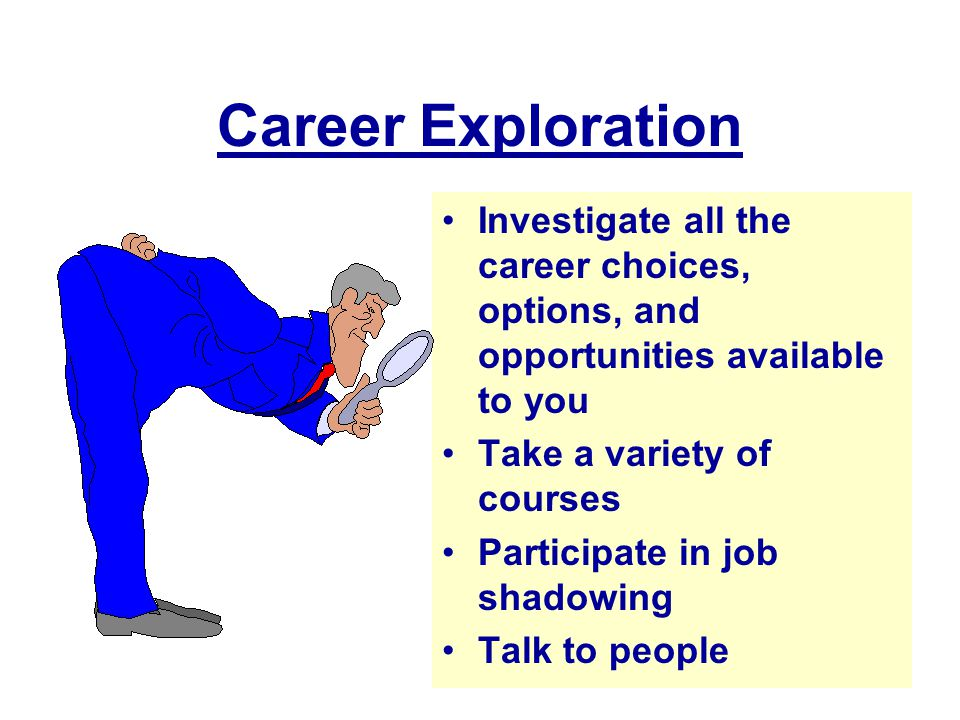 Career Exploration Investigate all the career choices, options, and opportunities available to you.