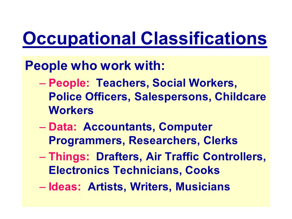 Occupational Classifications