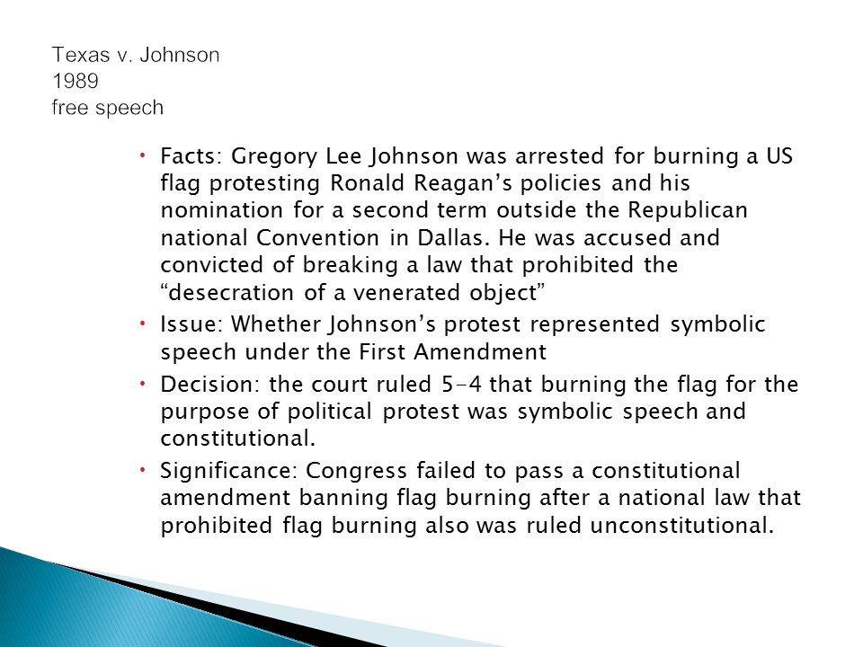 a discussion of whether flag burning is protected by the us first amendment Iraq was first at 35%, followed by gas prices (28%), immigration (26%) and same sex marriage  abortion and gay marriage of all the issues tested in the pew survey, a proposed flag-burning amendment is.