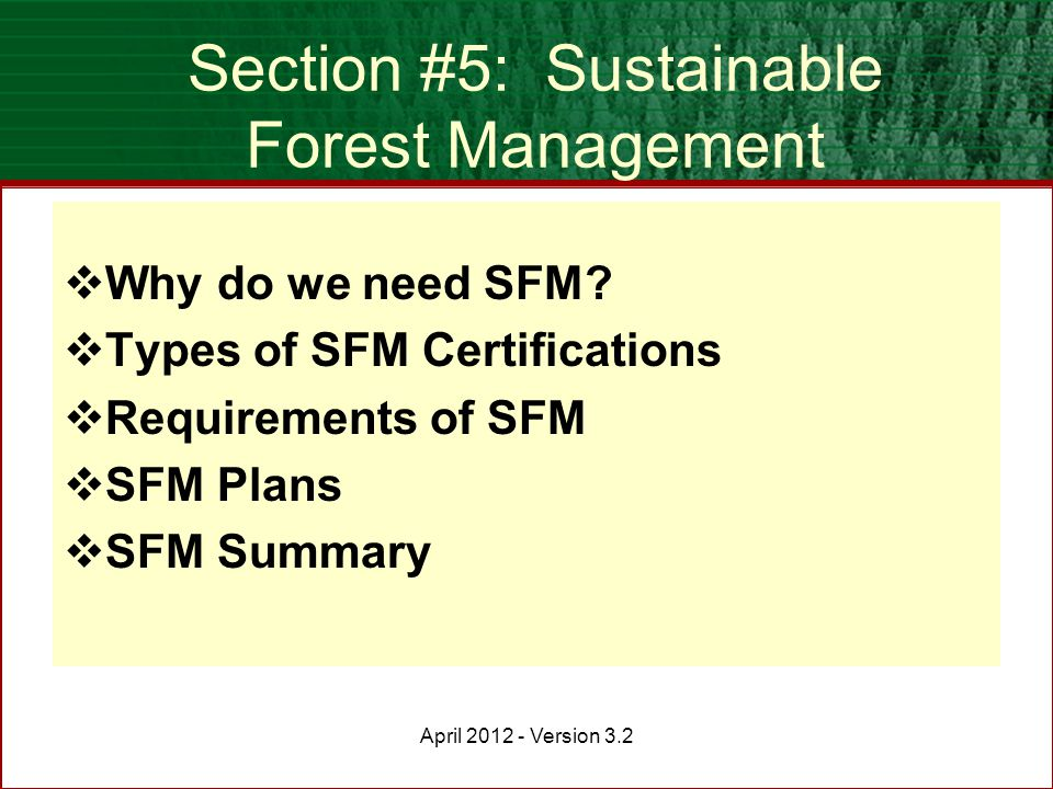 Sustainable Forest Management ~ Awareness training for bcts staff updated april ppt download