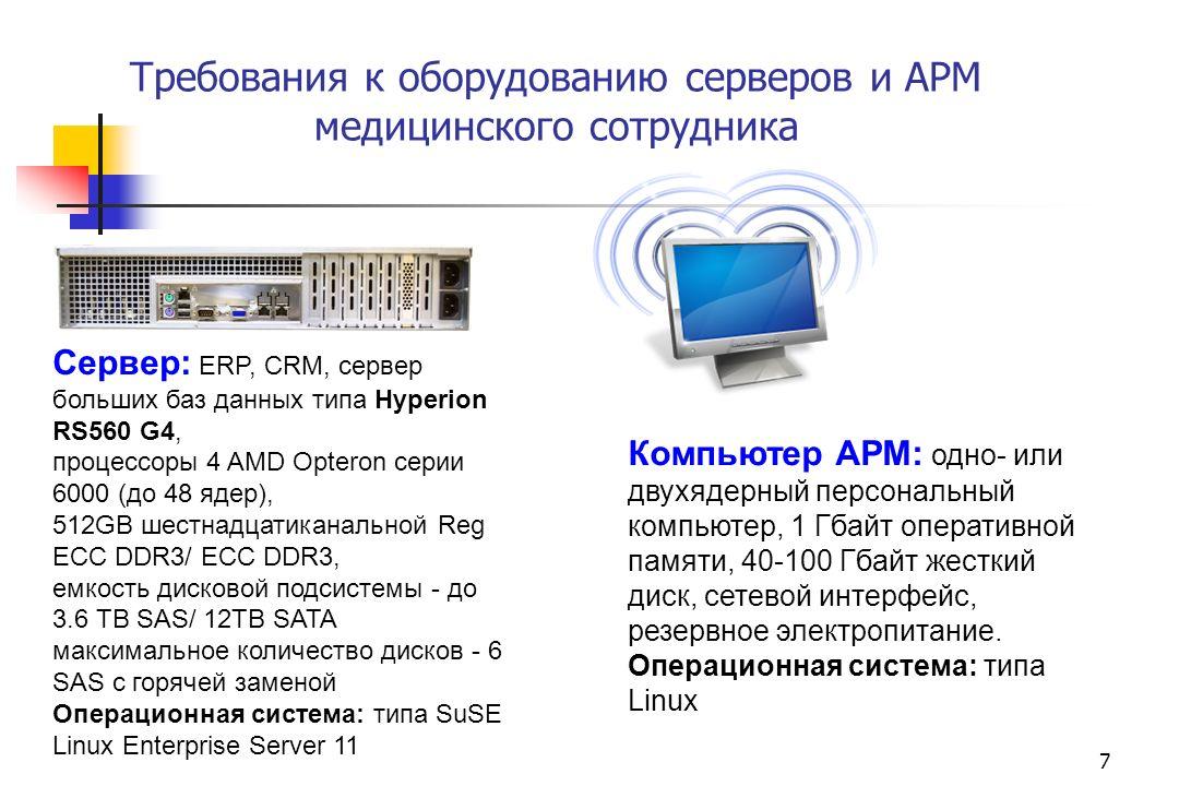 Требования к оборудованию серверов и АРМ медицинского сотрудника