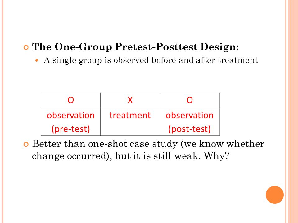 weakness of the posttest only design in research Foundations of clinical research: applications to practice  the interaction of  environmental and personal characteristics make it weak in internal  most  basic is the pretest-posttest control group design (randomized.