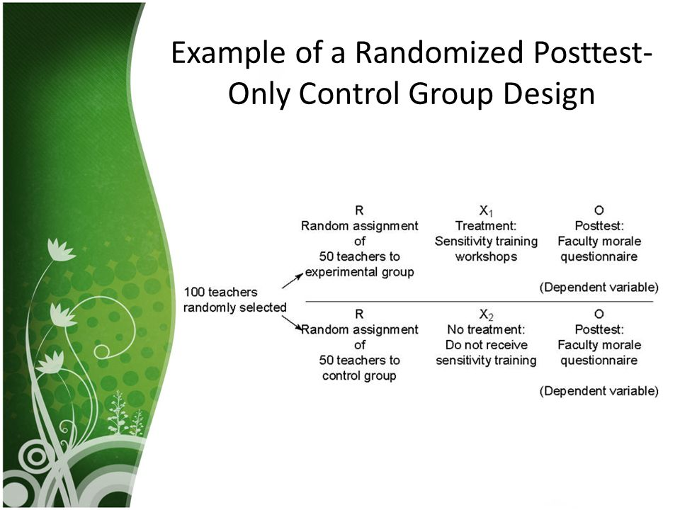 Example of a Randomized Posttest-Only Control Group Design