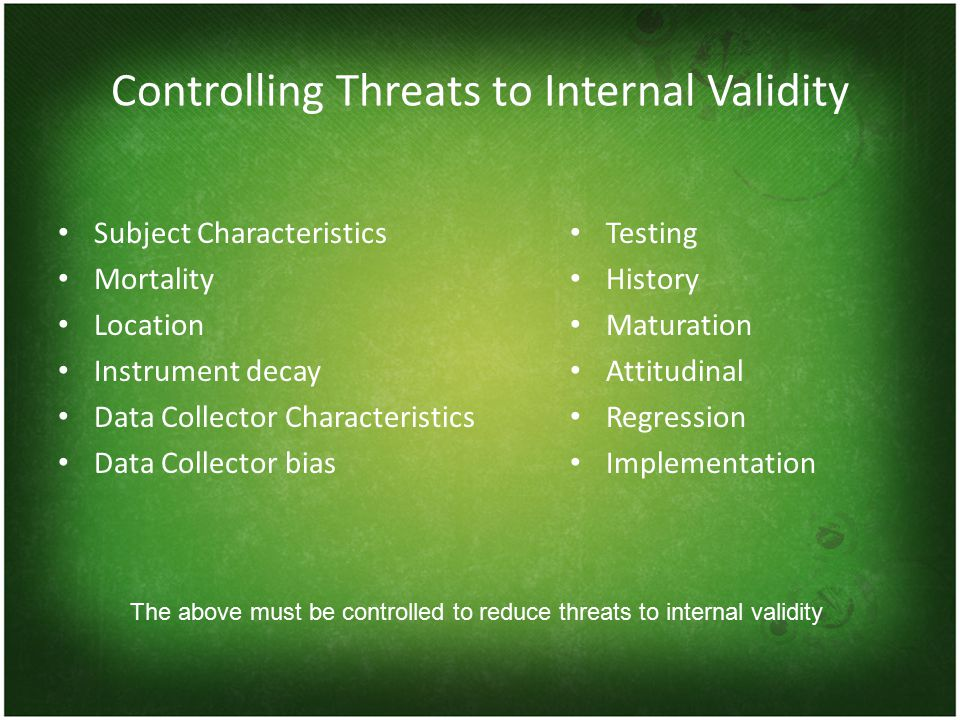 Controlling Threats to Internal Validity