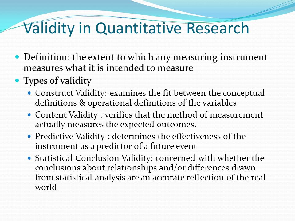"validity in research methodology Research validity can be divided into two groups: internal and external it can be specified that ""internal validity refers to how the research findings match reality, while external validity refers to the extend to which the research findings can be replicated to other environments"" (pelissier, 2008, p12."