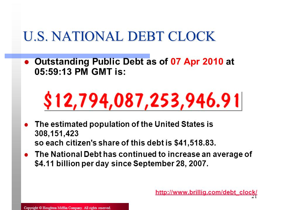 U.S. NATIONAL DEBT CLOCK Outstanding Public Debt as of 07 Apr 2010 at 05:59:13 PM GMT is: