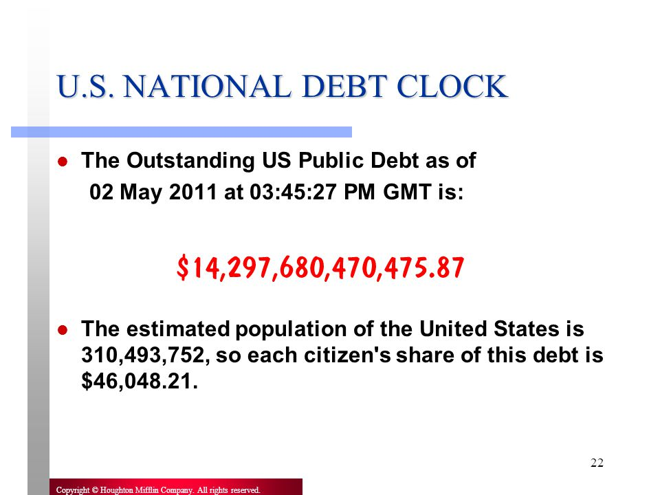 U.S. NATIONAL DEBT CLOCK The Outstanding US Public Debt as of