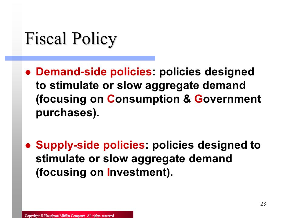 Fiscal Policy Demand-side policies: policies designed to stimulate or slow aggregate demand (focusing on Consumption & Government purchases).