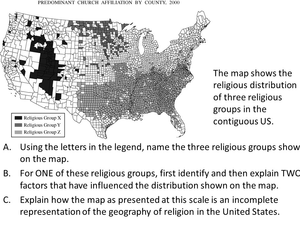 The Map Shows The Religious Distribution Of Three Religious Groups In The Contiguous Us
