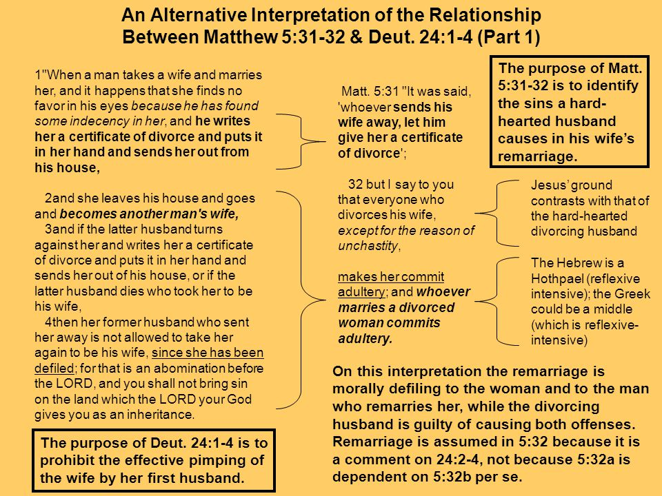 divorce and remarriage How should a christian view marriage and divorce focus on the family's position is that divorce and remarriage appear to be justified in scripture only in a few.