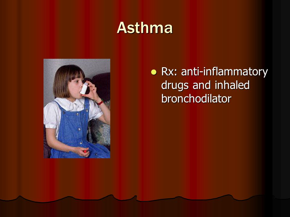 Asthma Rx: anti-inflammatory drugs and inhaled bronchodilator