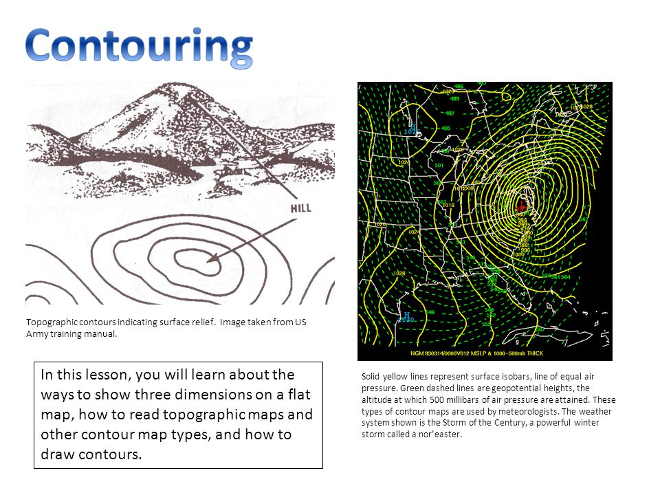 Contouring Topographic Contours Indicating Surface Relief Image Taken From Us Army Training Manual