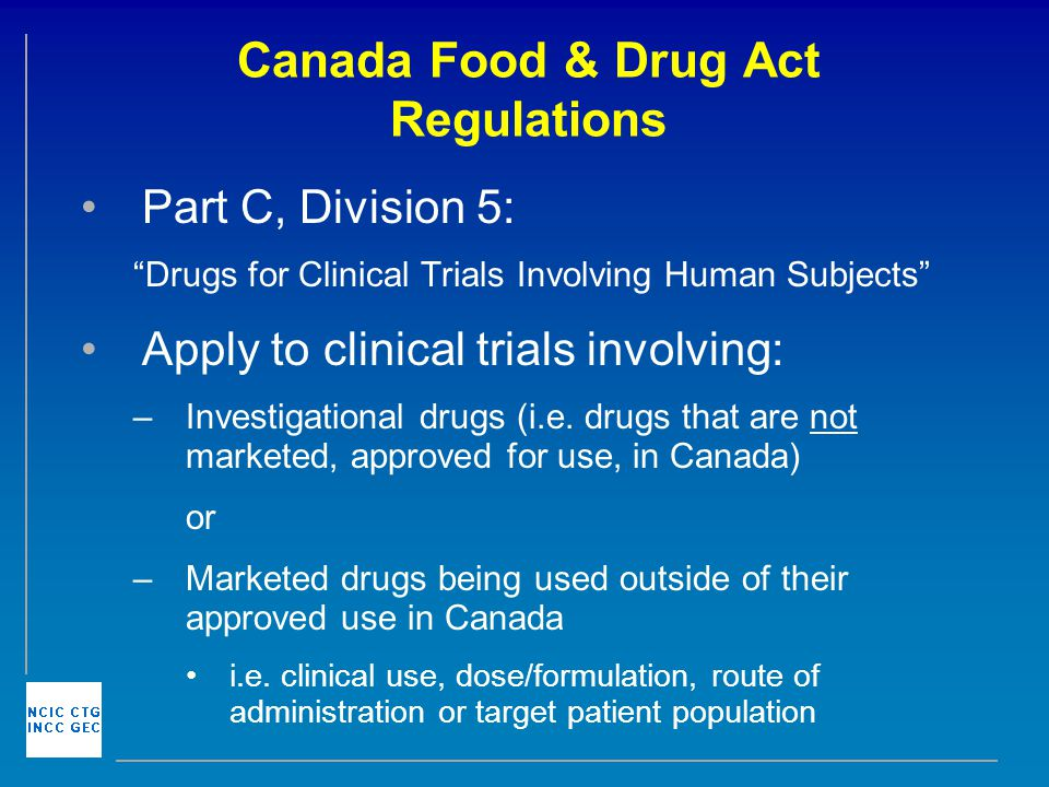 Health Canada Food And Drug Regulations Part C Division