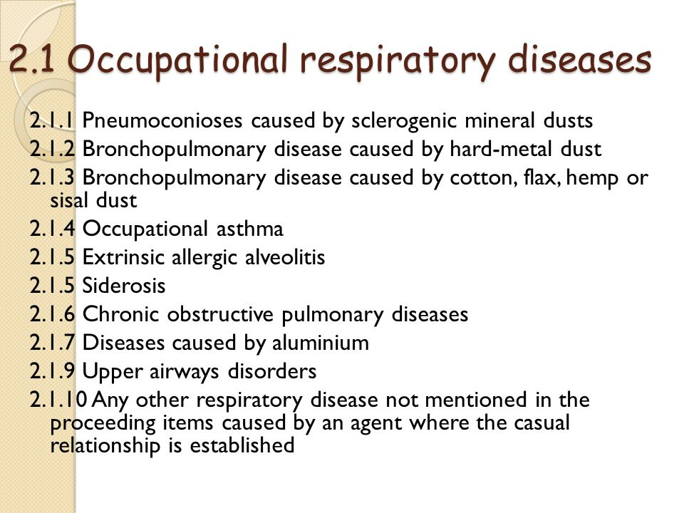 occupational respiratory disease Identification of occupational and environmental causes of respiratory disease is  important because control of these exposures may lead to a cure for some.